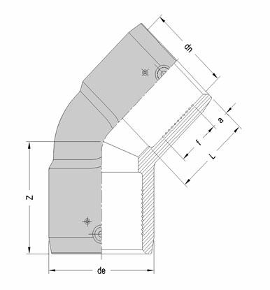 Отвод электросварной SDR 7.4 45°, чертеж