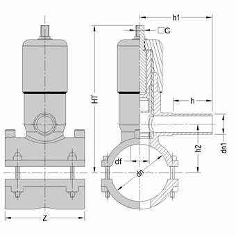 Седелка крановая электросварная с фрезой и клапаном SDR 11 - PN 16, чертеж