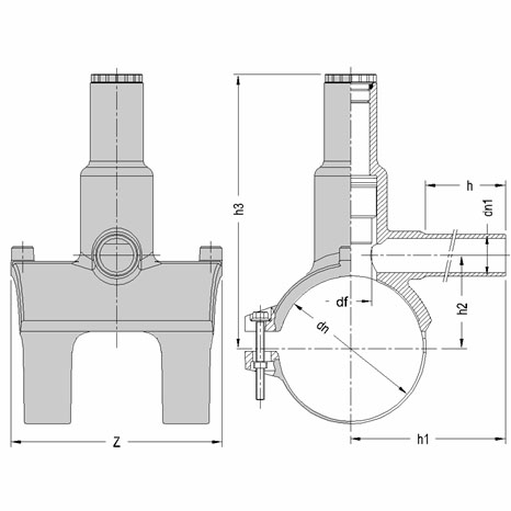 Седелка электросварная с фрезой SDR 11 - PN 16? чертеж